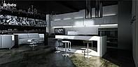 Кухня RODA МОДЕНА: фасад «безручечный» гладкий, из крашенного МДФ, со скосом в торце для удобства открывания
