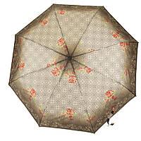 Женский симпатичный прочный зонтик полуавтомат MONSOON art.1354 коричневый в узорах(101337)