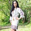 Етнічна жіноча сукня з геометричною вишивкою, фото 2