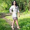 Етнічна жіноча сукня з геометричною вишивкою, фото 3