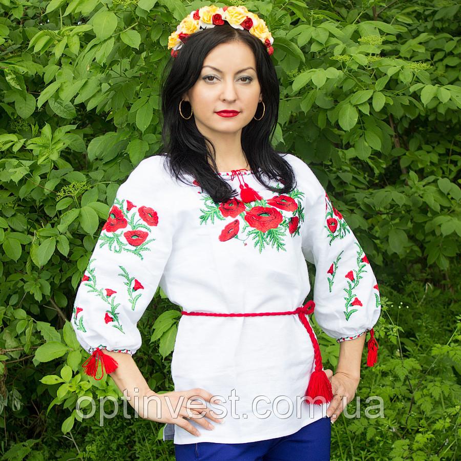 """Льняна жіноча сорочка вишиванка """"П'ять маків"""""""
