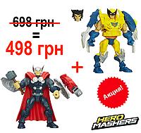 Акция! Разборные фигурки-конструкторы Тор и Росомаха от Hasbro, Super Hero Mashers