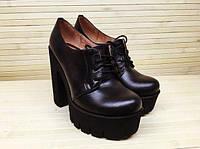 Женские Кожаные туфли на шнурках на толстом каблуке