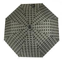 Симпатичный прочный зонтик полуавтомат art. 318 черный/серый шахматка (101375)