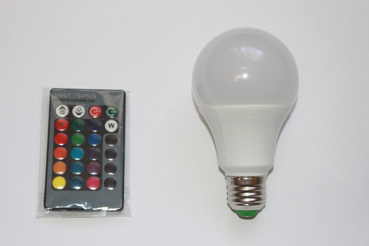 Лампа RGB LED 10W E27 (Цветная)