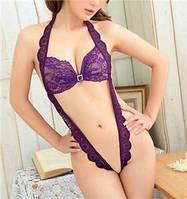 Пеньюар - боди кружевной сексуальный  фиолетовый