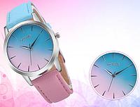 Женские наручные часы розовые с голубым омбре КТ 1188