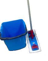Швабра для влажной уборки микрофибра 40см + ведро 18 л.
