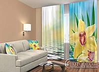 """ФотоШторы """"Желтая орхидея"""" 2,5м*2,6м (2 полотна по 1,30м), тесьма"""