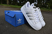 Adidas Superstar 3D white gray кроссовки женские адидас суперстар белые с серыми полосками
