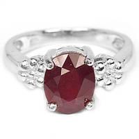 Рубин кроваво-красный, серебро 925, кольцо, 526КР