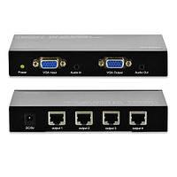 Кабель VGA удлинитель  Digitus 4-port extender over UTP 300m, Black
