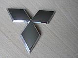 Эмблема z MITSUBISHI 96.5х85мм выпуклая №2 уценка  хром наклейка на авто Митсубиши Мицубиси, фото 3