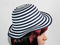 Соломенная шляпа детская Энфант 28 см бело-синяя
