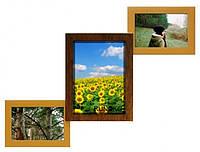 Деревянная мультирамка Лесенка Комбо двойное золото на 3 фото