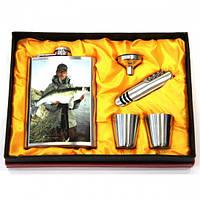 Подарочный набор Фляга с изображением рыбака с судаком