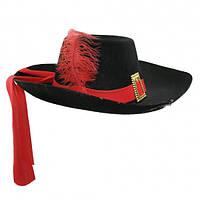 Шляпа Мушкетера с пером (черная)