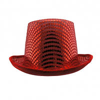 Шляпа Цилиндр с пайетками (красная)