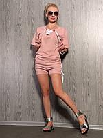 Трикотажный костюм со шнуровкой шорты и футболка