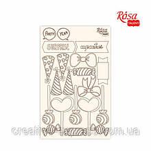 """Чіпборд для скрапбукінгу """"Cake delicious"""" 2, білий картон, 12,8х20см, ROSA TALENT"""