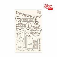 """Чіпборд для скрапбукінгу """"Cake delicious"""" 4, білий картон, 12,8х20см, ROSA TALENT"""