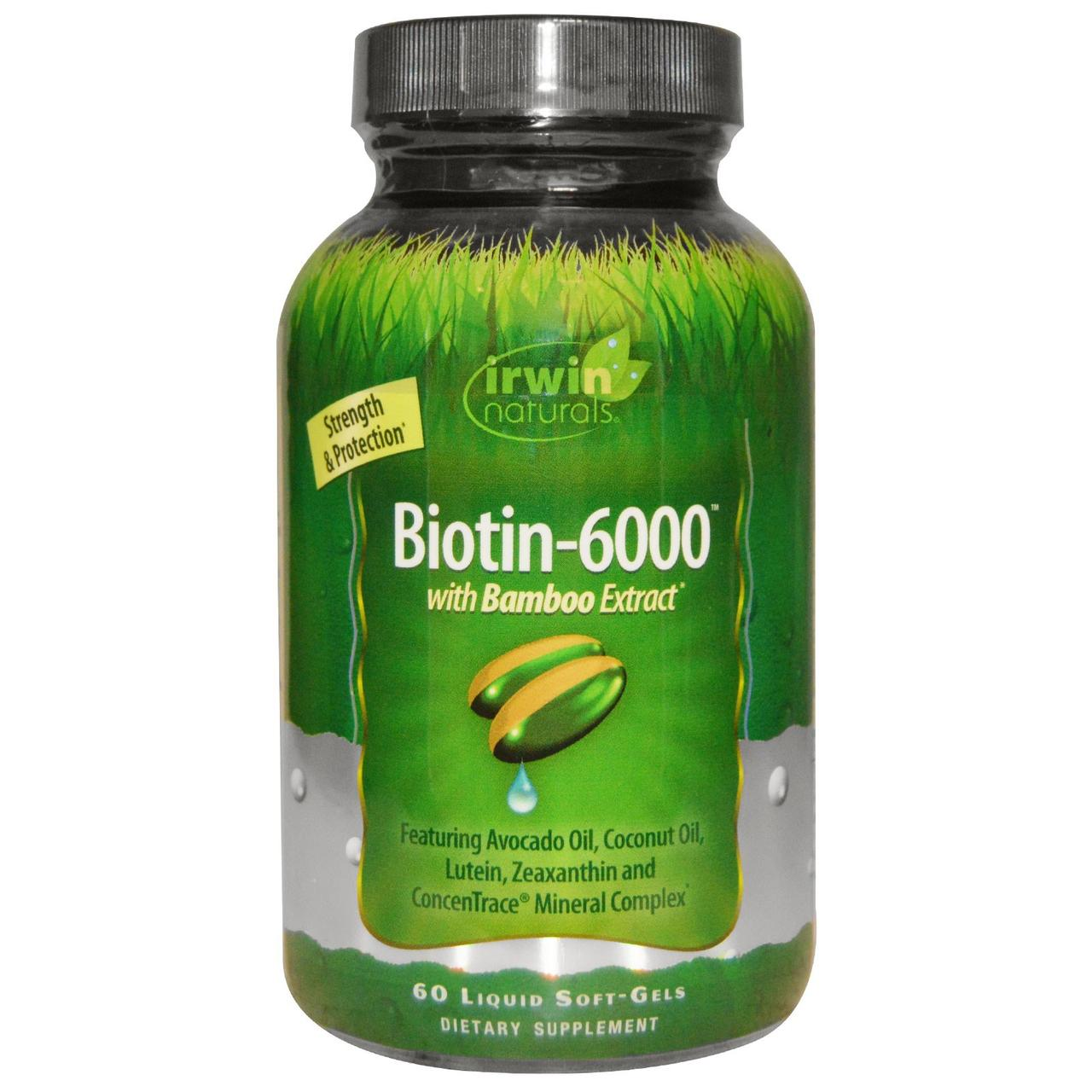 Irwin Naturals, Биотин-6000, С экстрактом бамбука, 60 жидких капсул