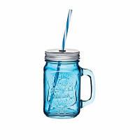 Чашка стеклянная с крышкой и трубочкой Синяя
