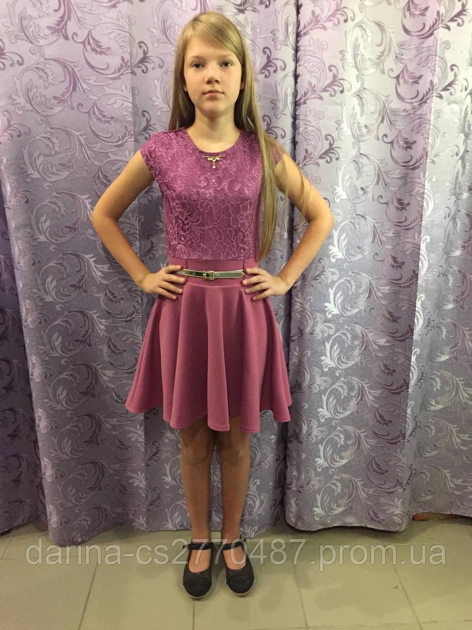 Детское платье с коротким рукавом 122,134,140 см