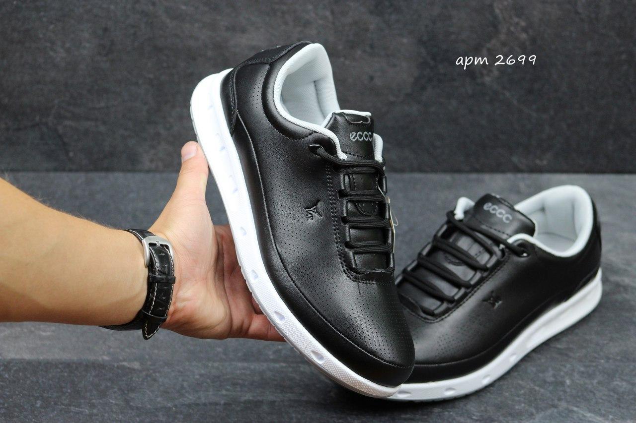 Женские кроссовки Ecco Yak черные с белым (Реплика ААА+) 5c7aaaa4c3fad