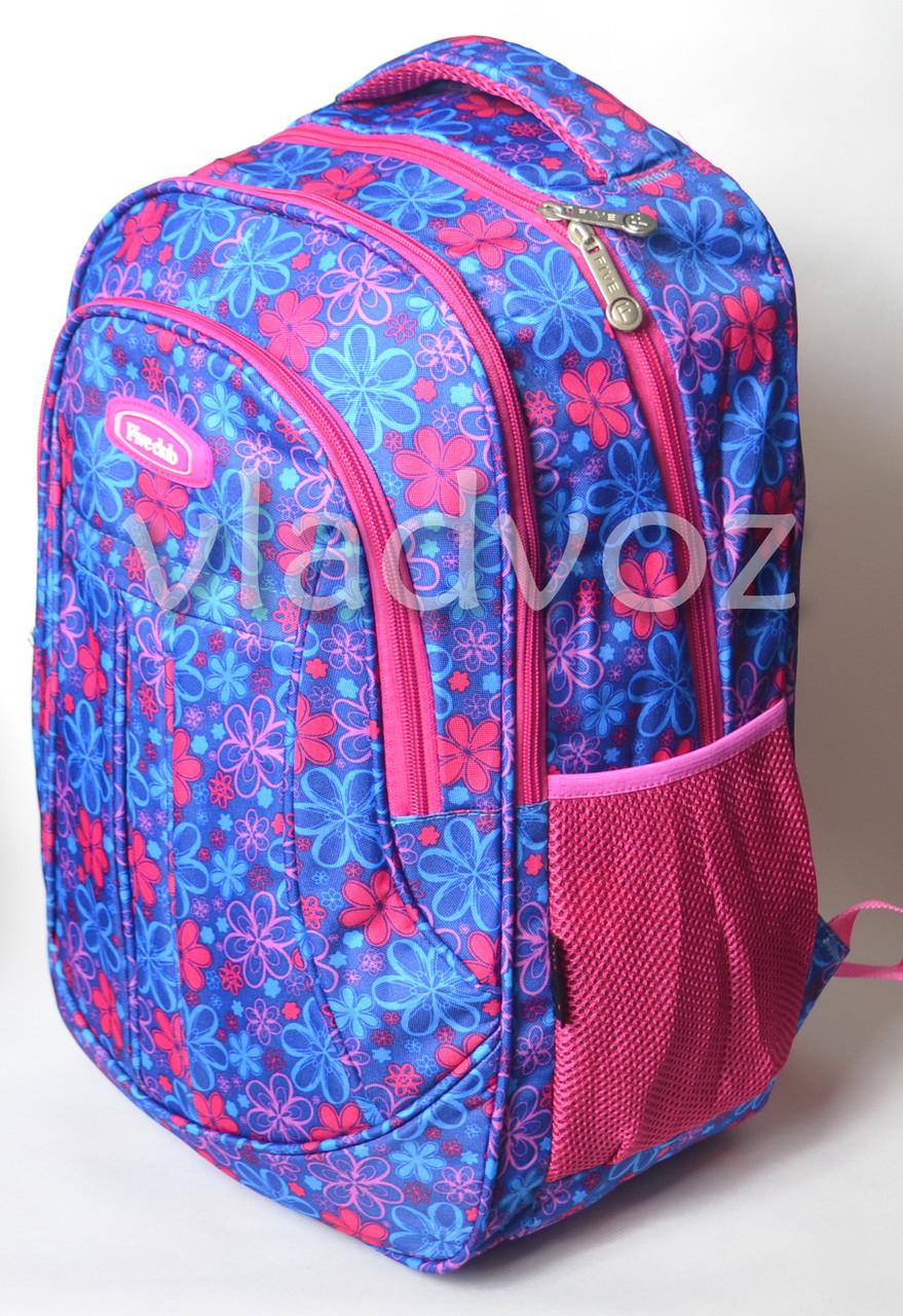 c9355bc6c004 Школьный рюкзак для девочки подростка плотная спинка Five Club ромашка синий  - интернет магазин vladvoz.