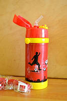 Термос детский с трубочкой Футбол (красный)