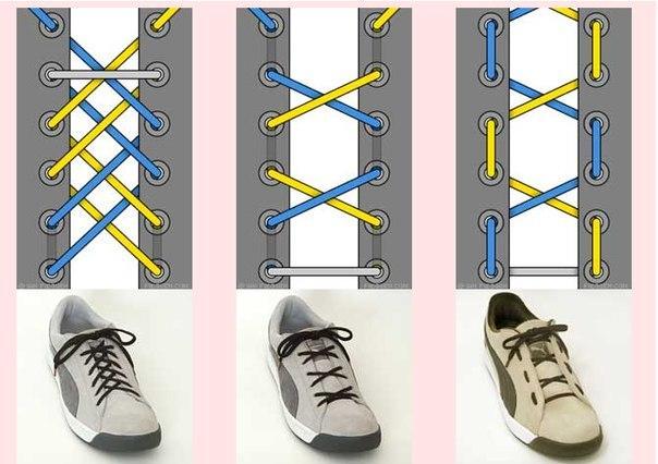 Схемы шнуровки кроссовок