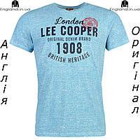 Футболка Lee Cooper мужская голубая с принтами  | Футболка Lee Cooper чоловіча голуба з прінтами