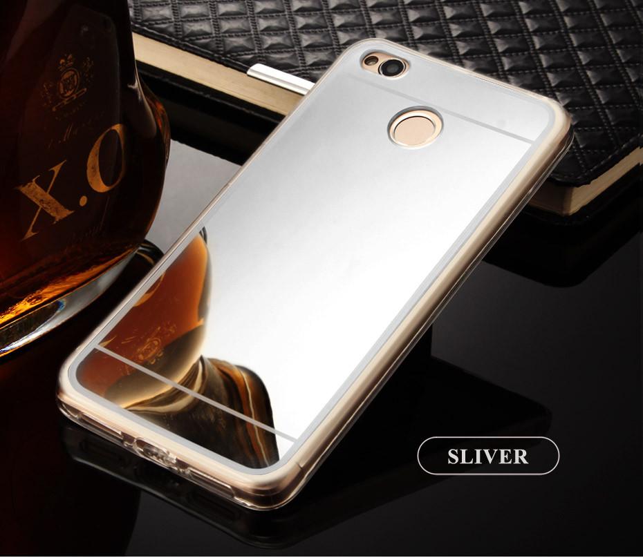 Чехол Xiaomi Redmi 4X / 4X Pro силикон TPU зеркальный светло-серый