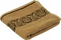 Махровое жаккардовое гладкокрашенное полотенце бежевое 50х90 см