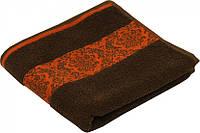 Махровое жаккардовое гладкокрашенное полотенце шоколадное 50х90 см
