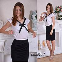 Стильная блузка с бантиком. Белый, фото 1