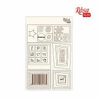 """Чіпборд для скрапбукінгу Класичний """"Рамки та піктограми"""", білий картон, 12,6х20см, ROSA TALENT"""