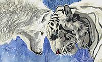 Схема для бисера Противостояние (тигр и волк)
