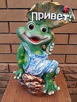 """Садовая скульптура лягушка """"Привет"""""""