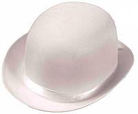 Шляпа Котелок атласный (белый)