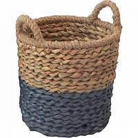 Корзина плетеная с ручками Синий отлив 28х29 см