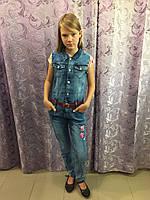 Джинсовый комбинезон на девочку подростка 134 см, фото 1