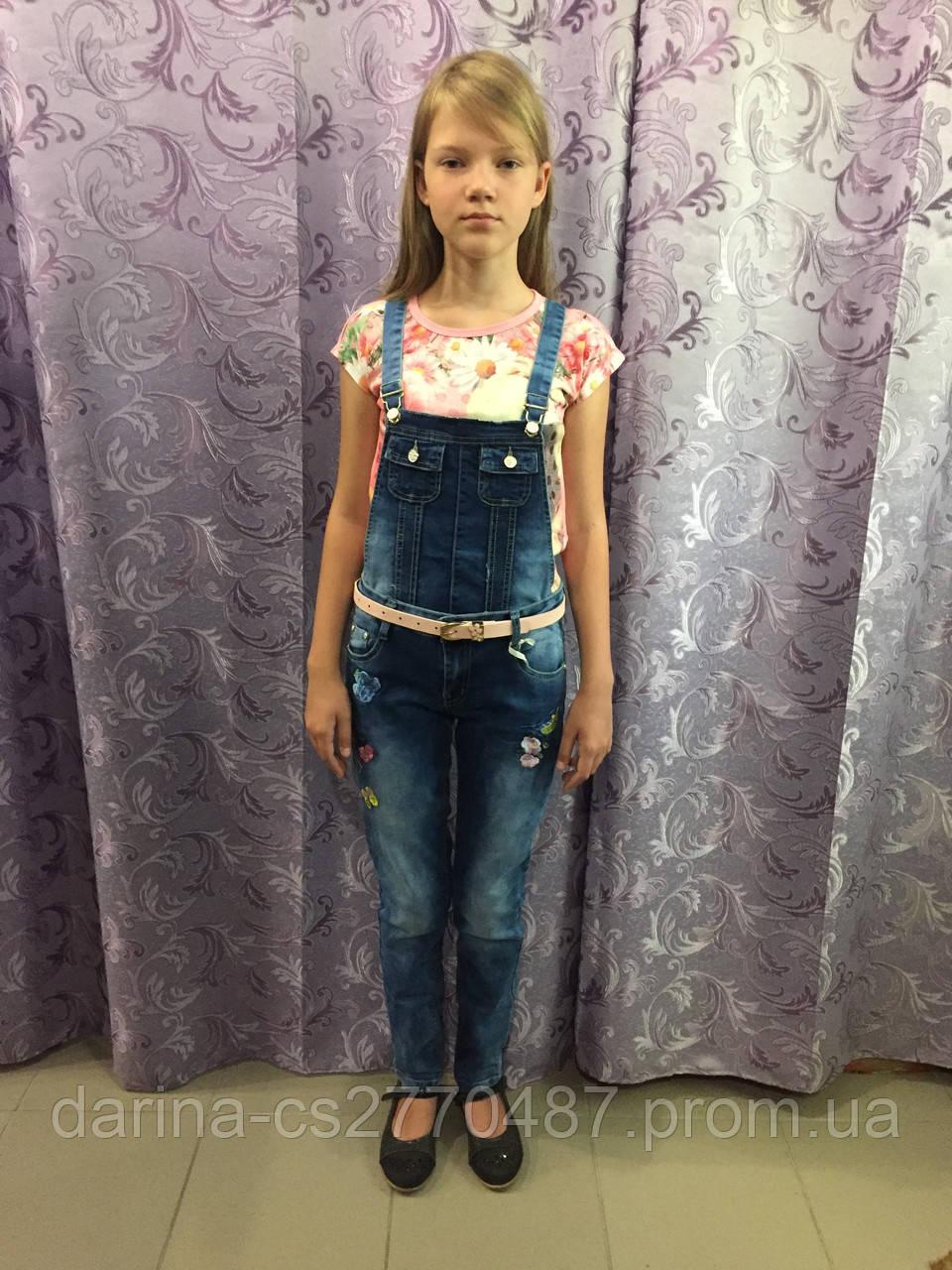 Подростковый джинсовый комбинезон для девочки 140 см
