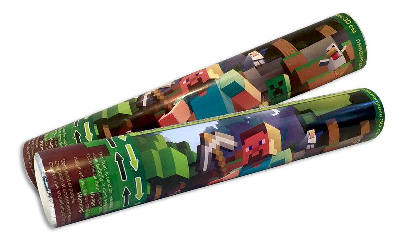 Хлопушка Майнкрафт пневматическая, длина 30 см
