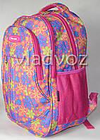 Школьный рюкзак для девочки подростка плотная спинка Five Club ромашка розовый
