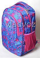Школьный рюкзак для девочки подростка плотная спинка Five Club ромашка синий