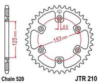 Звезда задняя HONDA XR - 400R (1996-2004) - JTR210.45 / JTR21045
