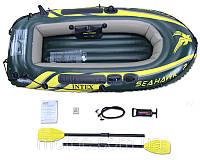 Надувная лодка с набором 236*114*41 Intex(Интекс). Резиновая лодка  68347