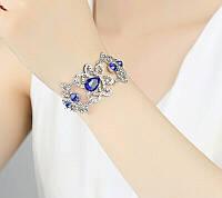 """Вечерний браслет """"под серебро""""  с  синими камнями"""